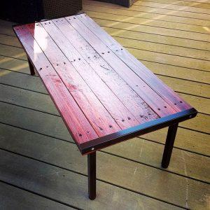upcycled pallet and metal mahogany stained coffee table