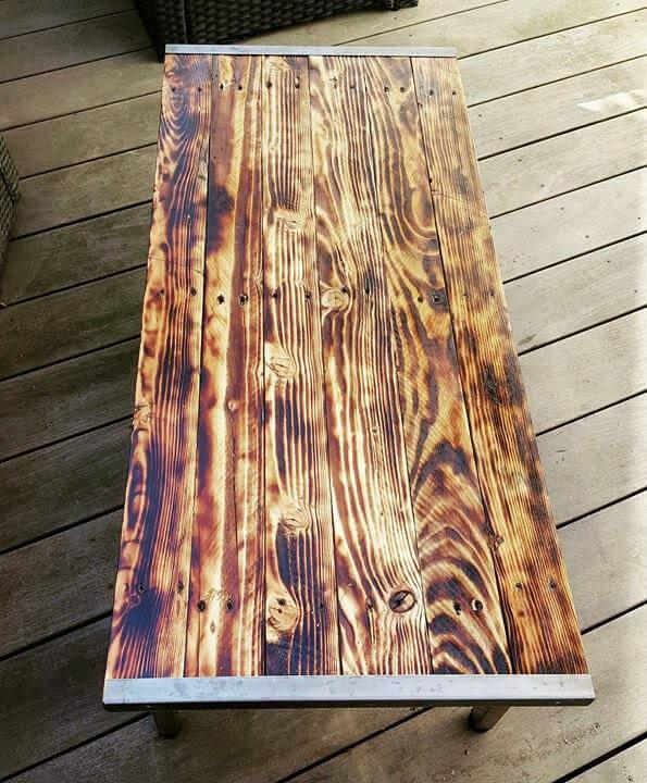 handcrafted pallet and metal scorched coffee table