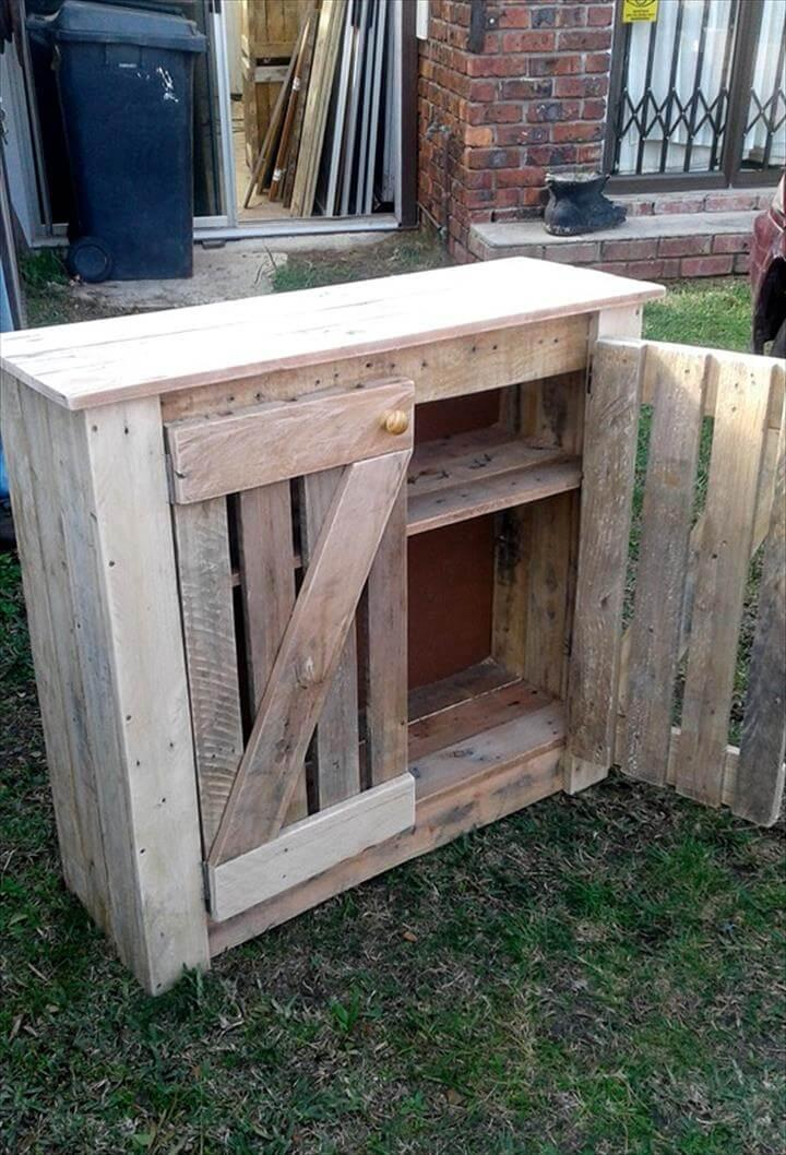 low-cost wooden pallet cabinet