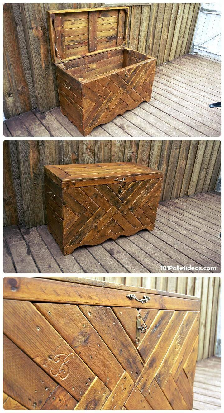 multichevron pallet robust wooden rustic chest