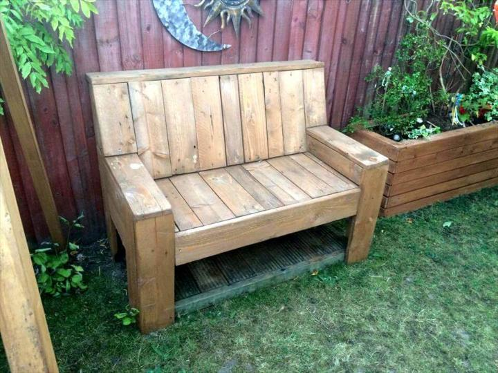 beefy wooden bench made of pallets
