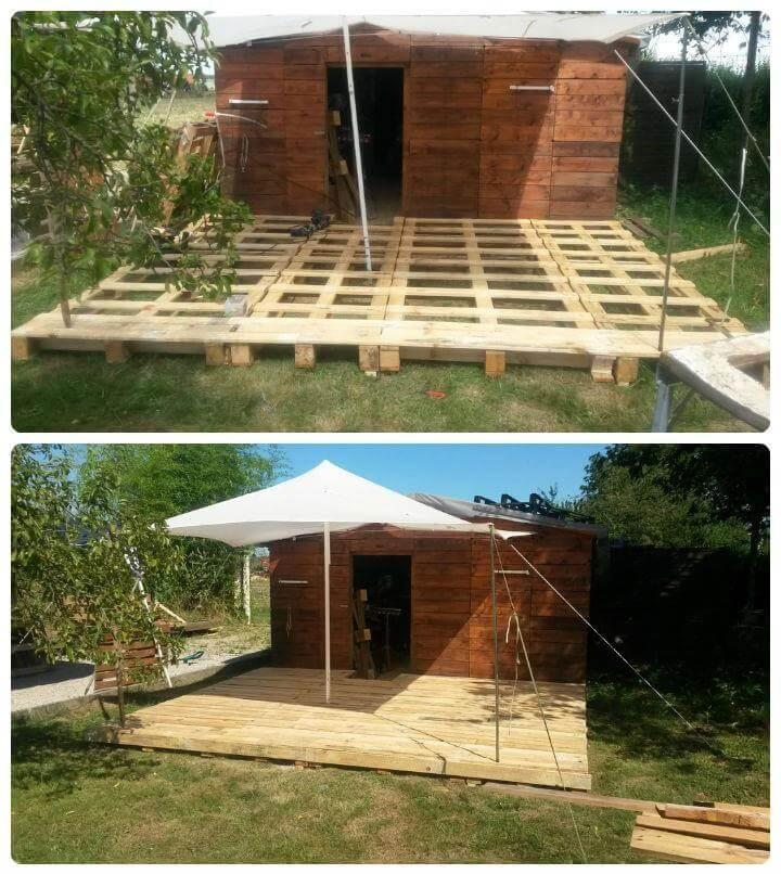 diy outdoor deck and cabin done with pallets
