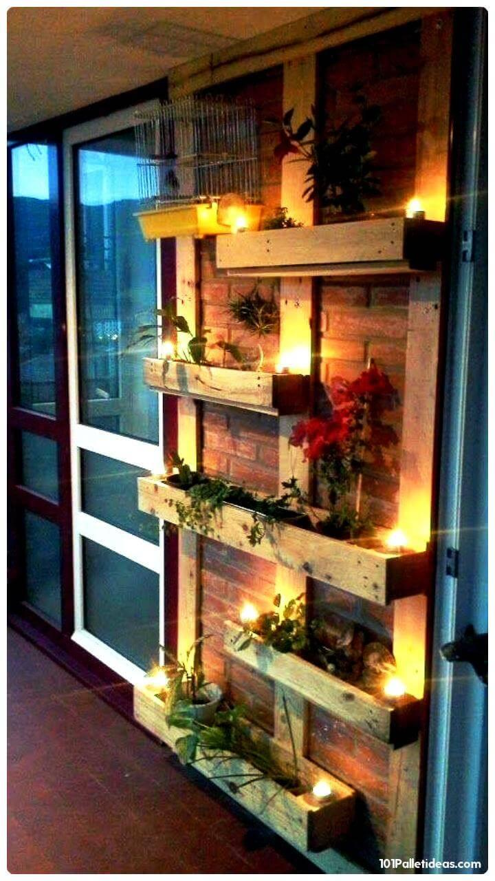 wooden pallet accent planter wall