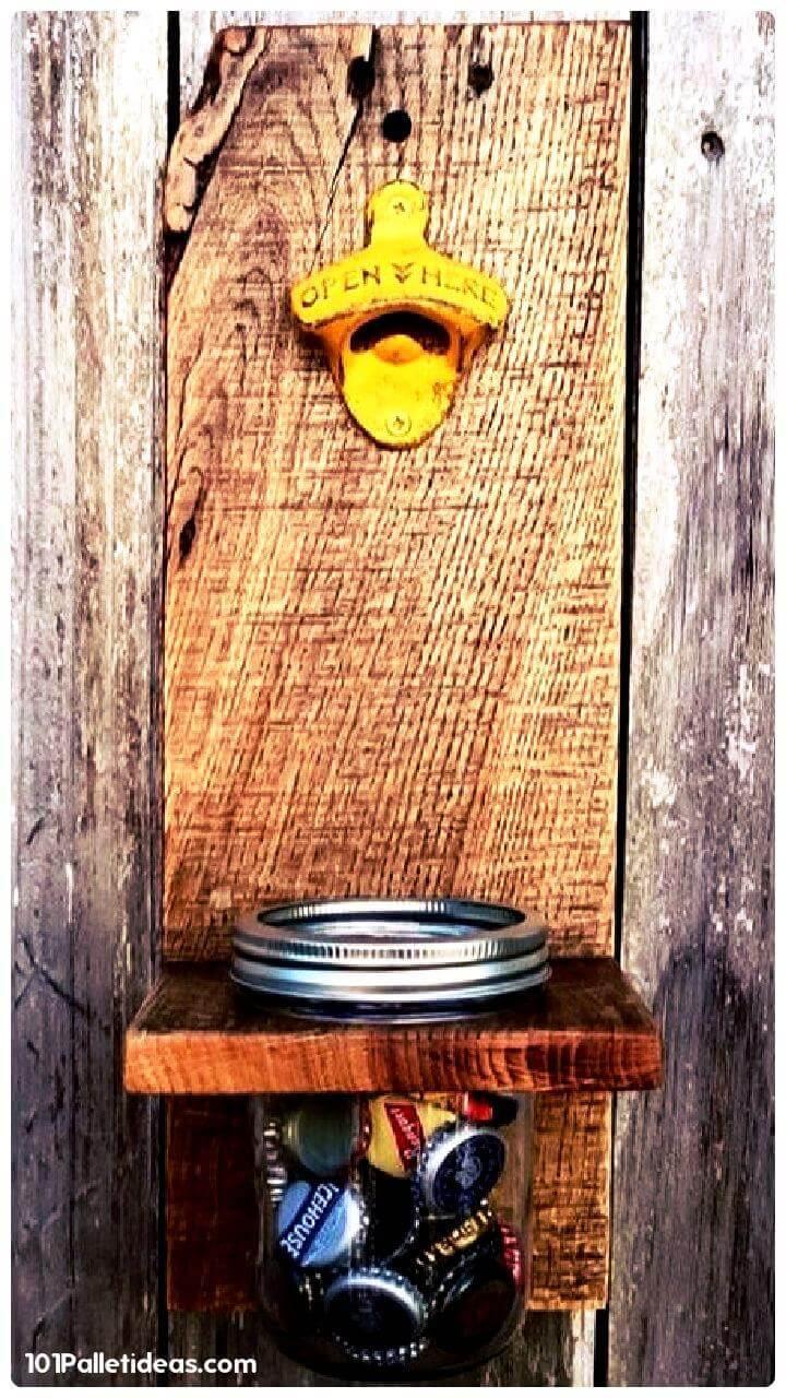 upcycled wooden pallet and Mason jar bottle opener