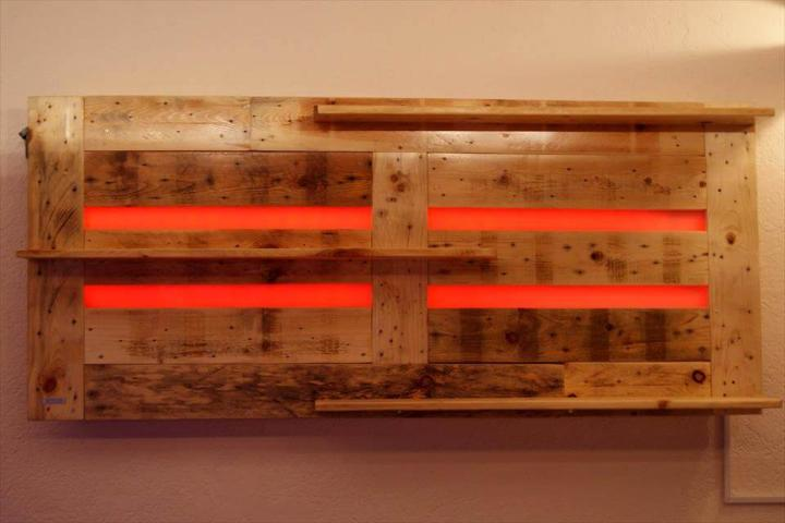 handcrafted wooden pallet bar shelf with red lights
