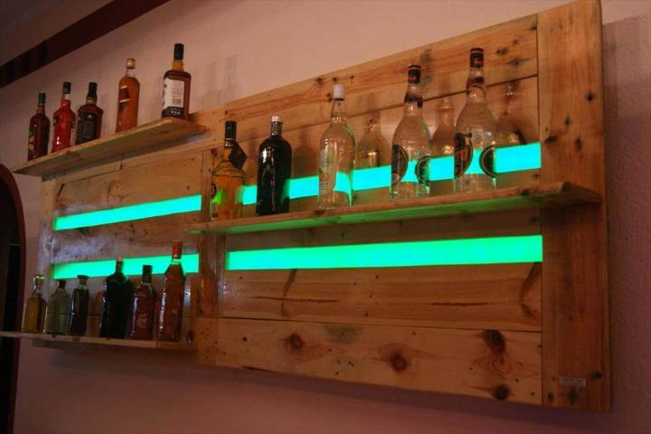 repurposed wooden pallet bar shelves or beverage bottle racks with green lights