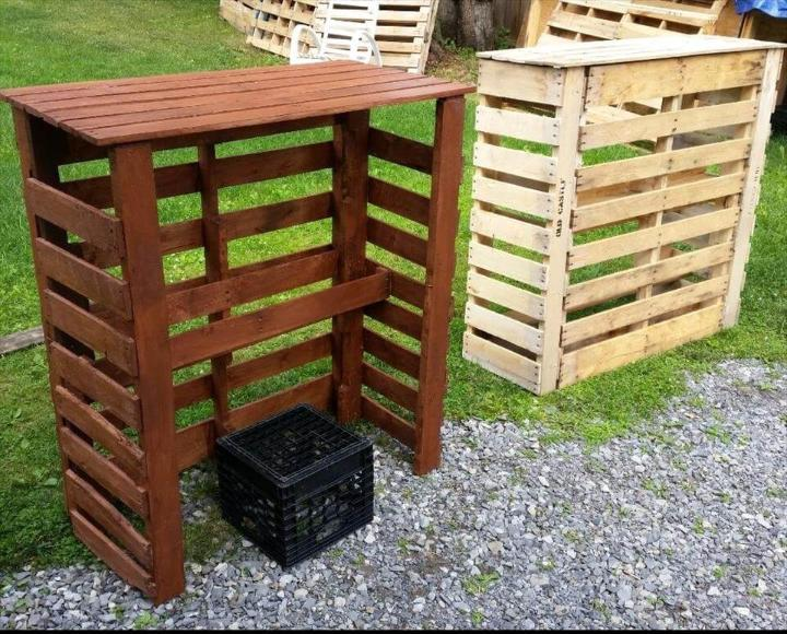 upcycled wooden pallet bar table or unit