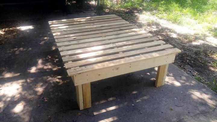 pallet made bed frame