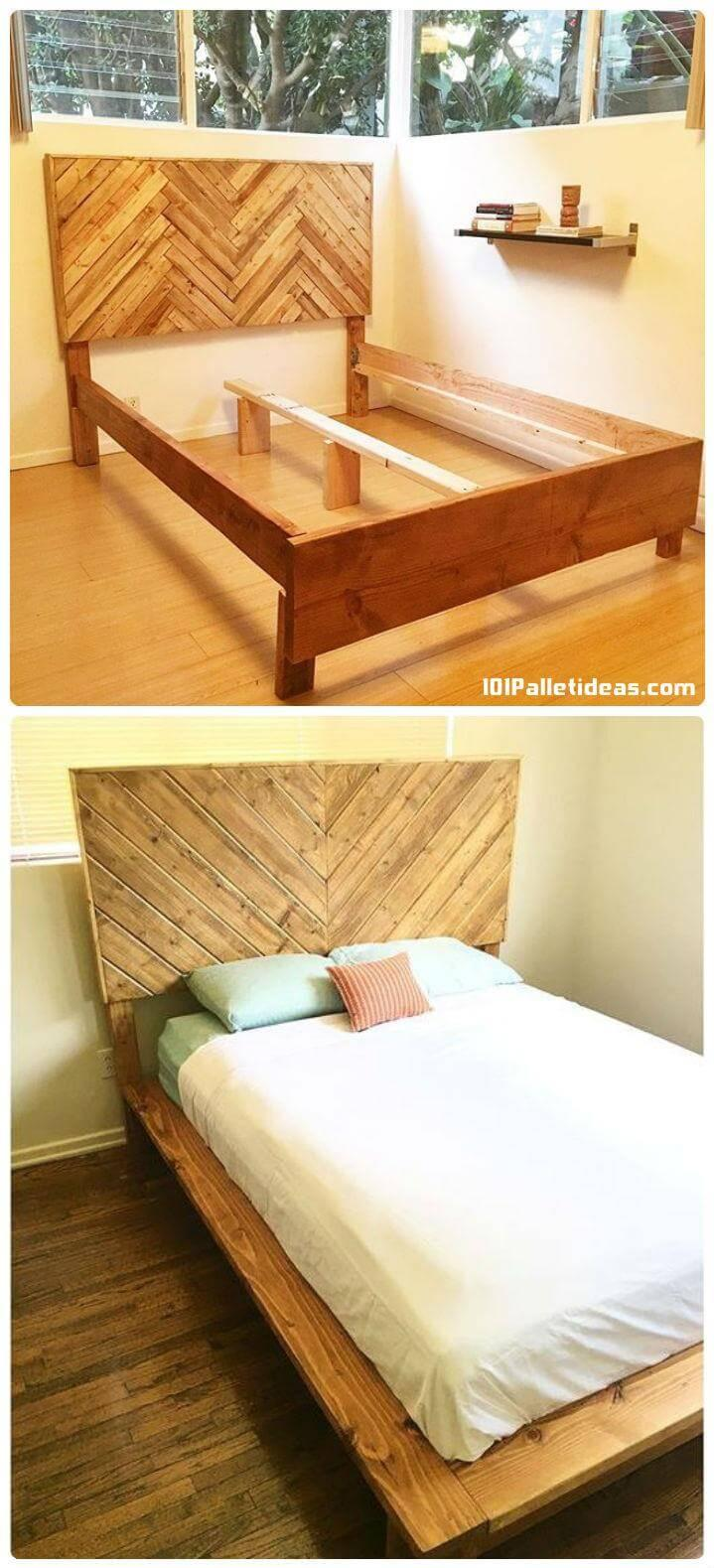wooden pallet bed frame with headboard