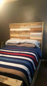Beautiful Pallet Bed with Headboard & Nightstand