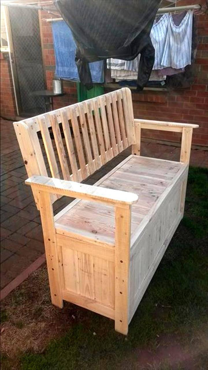wooden pallet bench with secret stash