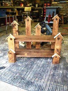 wooden pallet birdhouse bench