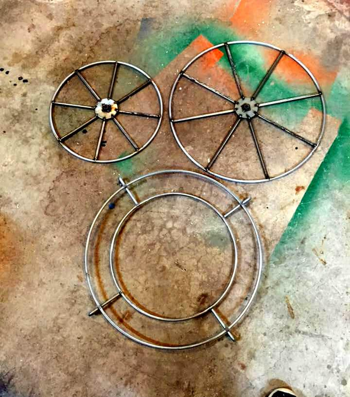 reclaimed metal cart wheels for pallet cart planter