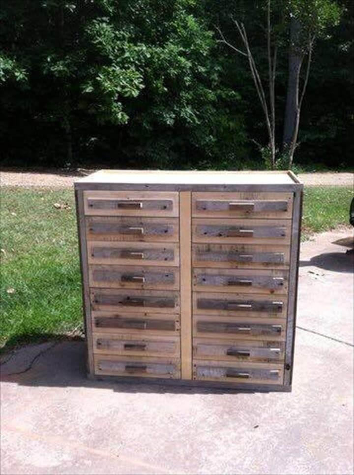 handcrafted pallet chest of drawers
