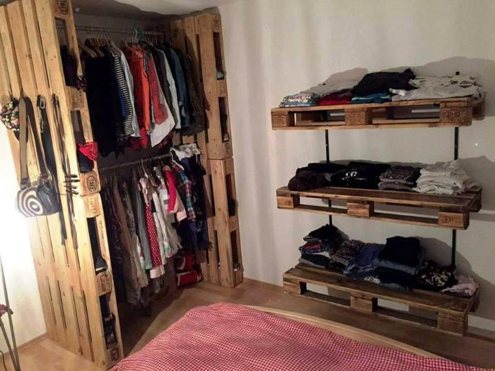 amazing pallet closet or wardrobe