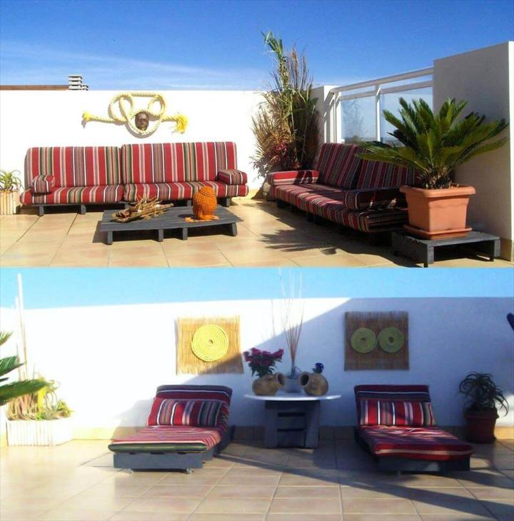 terrace sofa set and cushioned loungers made of pallets