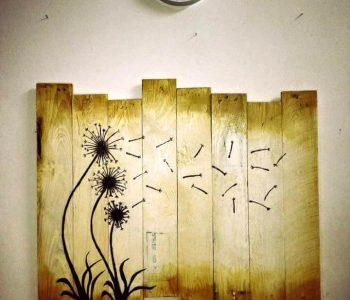 reclaimed wooden pallet dandelion wall decor art