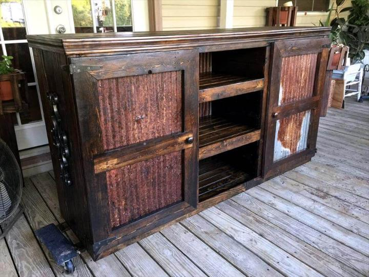 Rustic pallet entertainment center