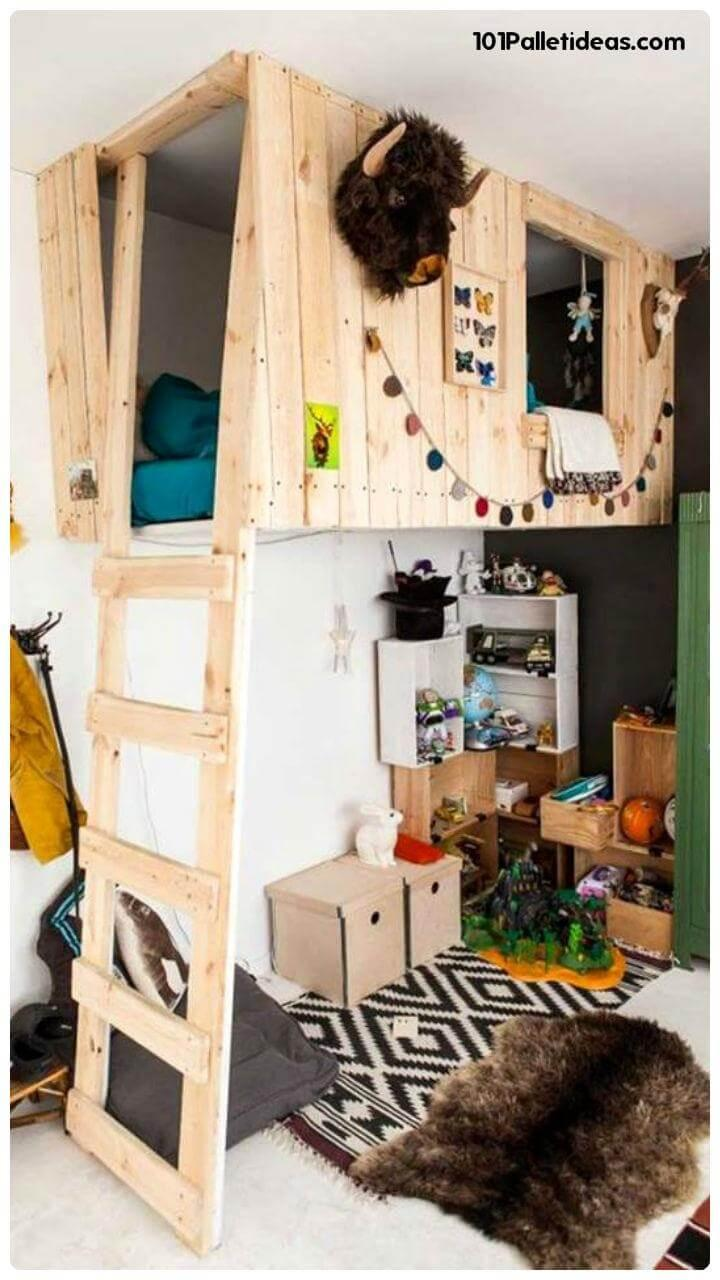 self-installed pallet loft bed