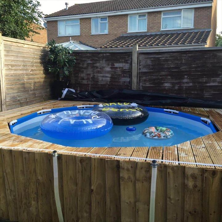 wooden pallet outdoor swimming pool