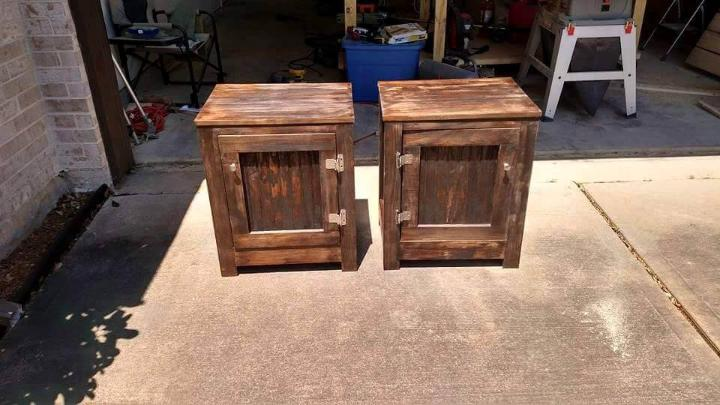 wooden pallet pair of end tables or nightstands