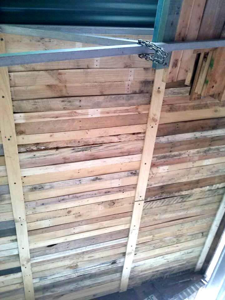 diy pallet roof installation