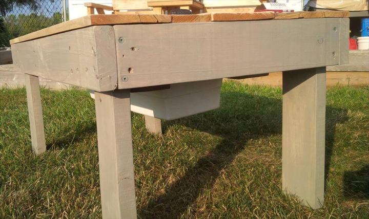 reclaimed wooden pallet outdoor secret beer cooler outdoor coffee table