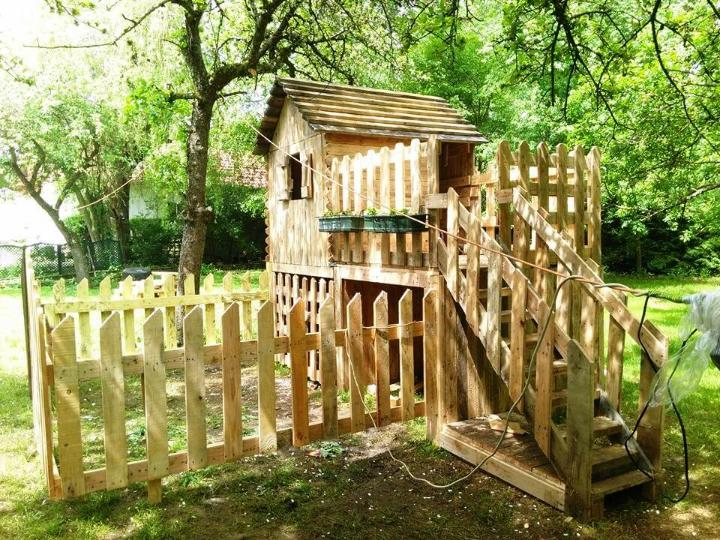 hand-built pallet playhouse