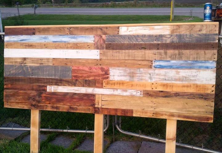 robust wooden pallet queen headboard
