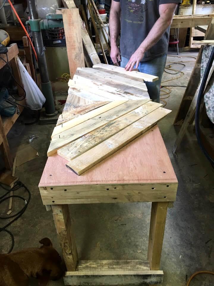 pallet slats for installing chevron top
