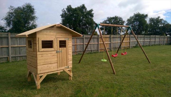 handmade pallet playhouse for kids