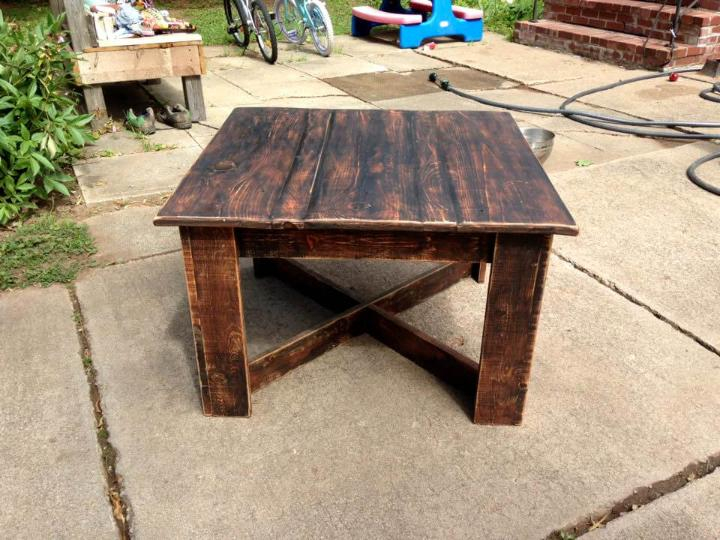 handcrafted wooden pallet square top coffee table