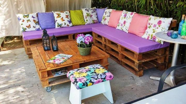 stacked pallet sectional cushioned sofa and coffee table set