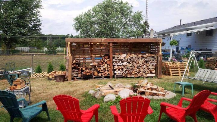 reclaimed pallet firewood shed
