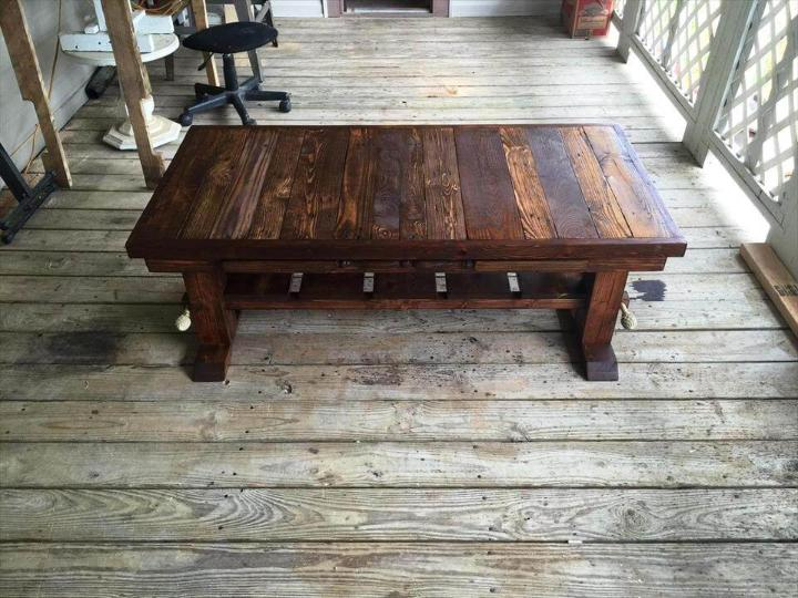 rustic wooden coffee table made of pallets