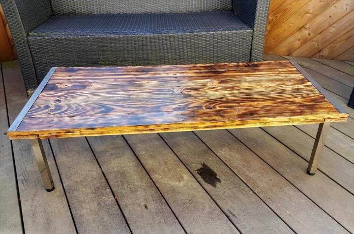 DIY scorched pallet and metal coffee table