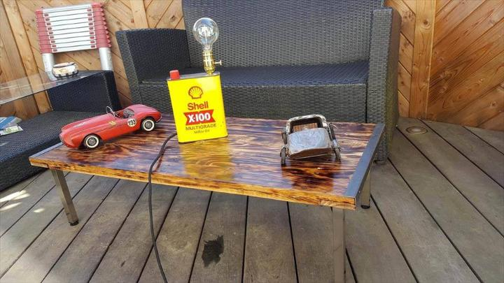 repurposed metal and pallet scorched coffee table