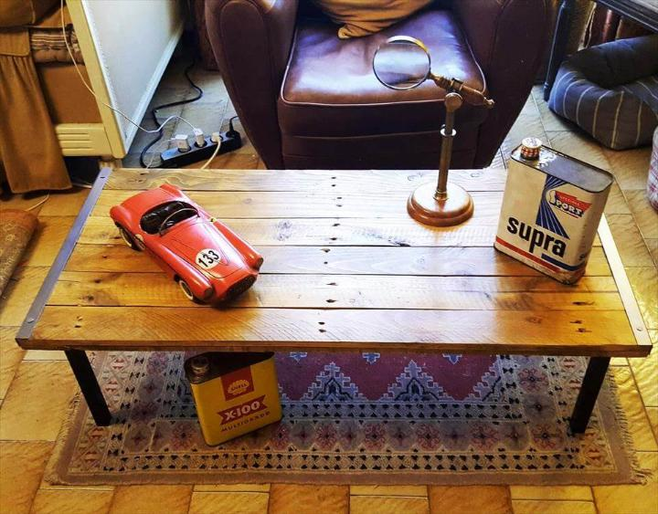 repurposed pallet and old metal coffee table