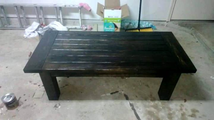 black stained pallet coffee table