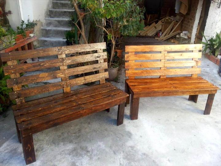 robust wooden pallet benches