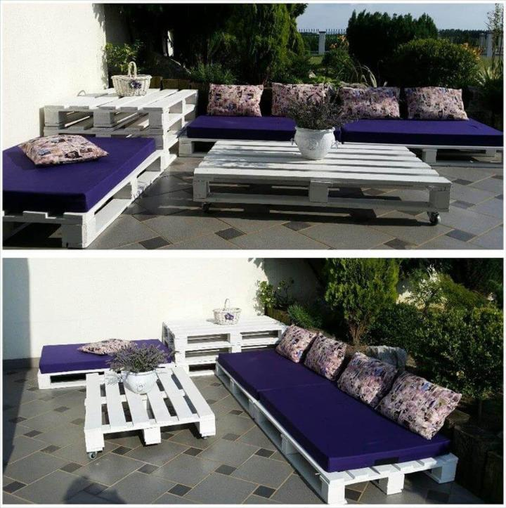 white painted pallet terrace lounge with dark blue cushion