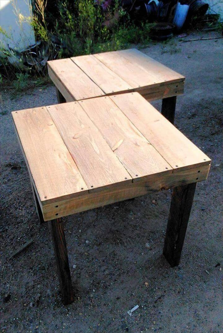 Re-purposed pallet end tables