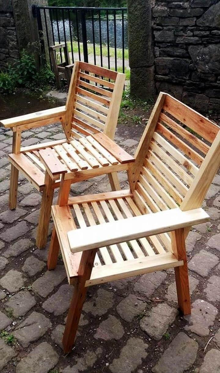 double chair bench made of pallets