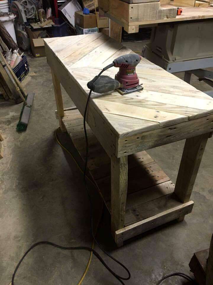 wooden pallet chevron sofa table with built-in shelf