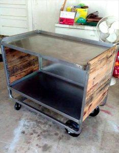 Restyled metal table with pallets