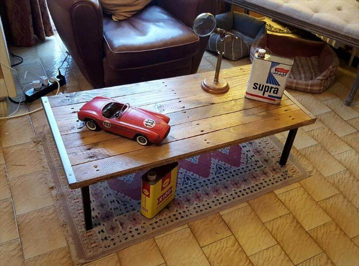 handcrafted wooden pallet and metal coffee table