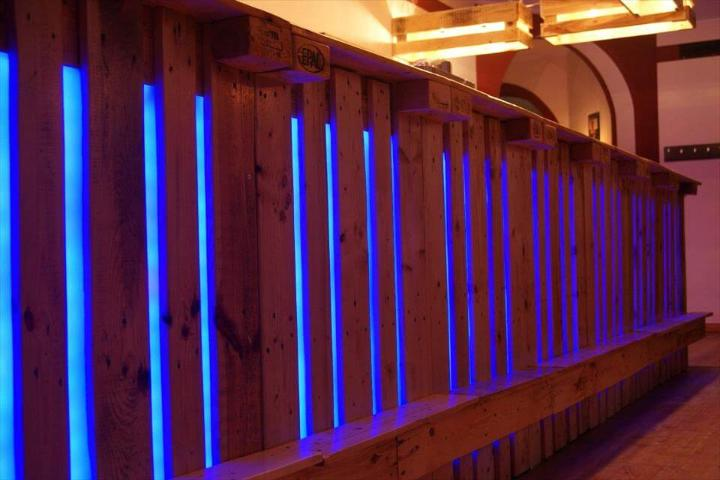 robust wooden pallet bar with blue lights