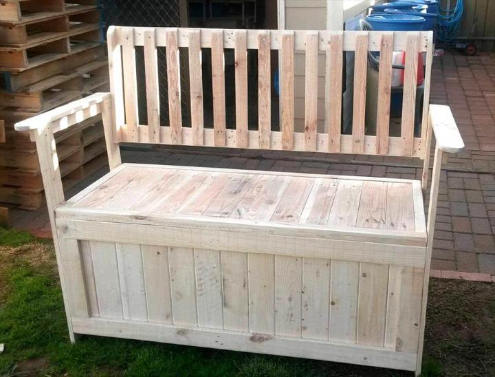 wooden pallet bench with storage in the seat!