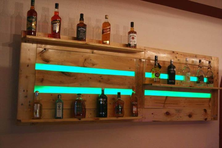 recycled pallet bar shelves or beverage bottle racks