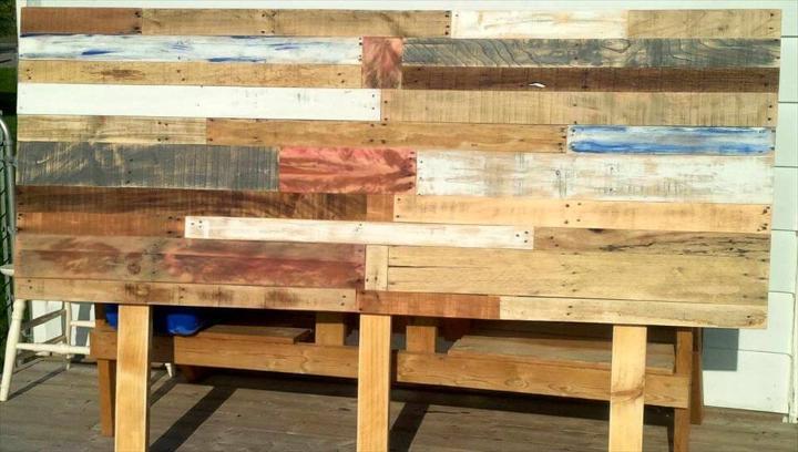 reclaimed pallet queen headboard